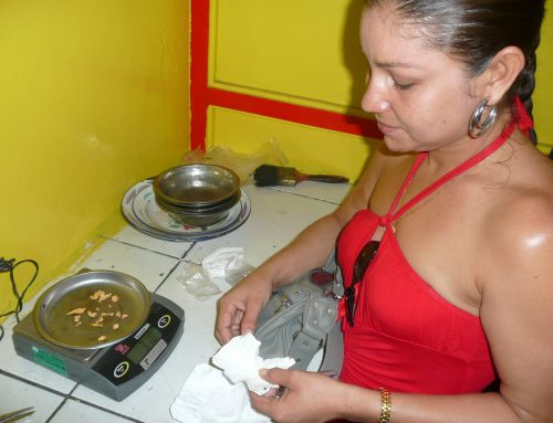 Gold miner selling her gold in a shop in Paramaribo, capital of Suriname, 2009